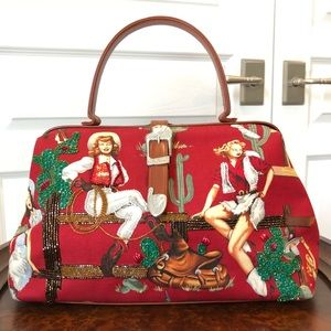 Isabella Fiore Beaded Red Cowgirl Satchel Handbag